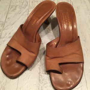 DONALD J. PLINER Valore Brown Leather Heel Sandal